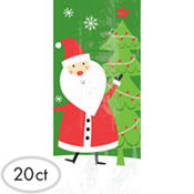 Santa Large Party Bags 11 1/2in x 5in 20ct