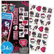 Monster High Valentines Day Cards with Tattoos 34ct