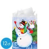 Medium Snowman Gift Bags 9in 12ct