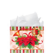 Medium Poinsettia Gift Bags 7in 12ct
