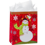 Large Happy Snowman Gift Bags 12 1/4in 8ct