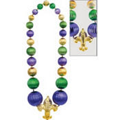 Giant Fleur De Lys Bead Necklace 60in