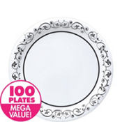 Fancy Scroll Heavy Duty Lunch Plates 100ct