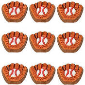Baseball Mitt Icing Decorations 9ct