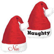 Naughty and Nice Santa Hat Set 2pc