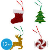 Glitter Traditional Holiday Gift Tags 12ct