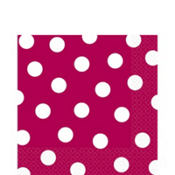 Raspberry Polka Dot Lunch Napkins 16ct