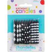 Black & White Birthday Candles 2in 10ct