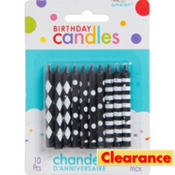 Black & White Birthday Candles 10ct