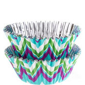 Green & Teal Chevron Foil Baking Cups 36ct