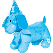 Blue 1st Birthday Autograph Dog Plush