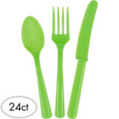 Kiwi Green Plastic Cutlery Set 24ct