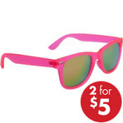 Neon Pink Mirrored Sunglasses