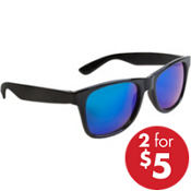Black Blue-Mirrored Sunglasses