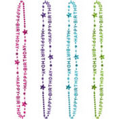 Purple & Teal Pastel Birthday Bead Necklaces 6ct