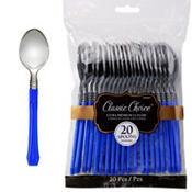 Classic Silver & Royal Blue Premium Plastic Spoons 20ct