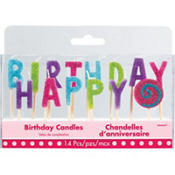 Glitter Multicolor Bright Happy Birthday Toothpick Candles 14ct