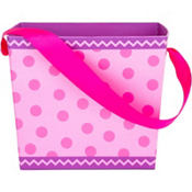 Pink Polka Dot Square Easter Basket