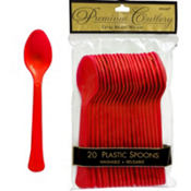 Red Premium Plastic Spoons 20ct