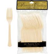 Vanilla Cream Premium Plastic Forks 20ct