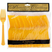 Sunshine Yellow Premium Plastic Forks 48ct