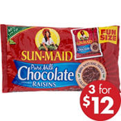 Sun-Maid Chocolate Covered Raisins Pouches 18ct