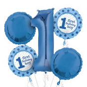 1st Birthday Balloon Bouquet 5pc - Polka Dot Boy