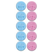 Girl or Boy Gender Reveal Buttons 10ct