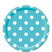 Caribbean Blue Polka Dot Lunch Plates 8ct