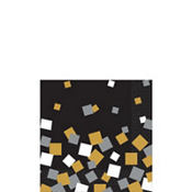 Black, Gold & Silver Squares Beverage Napkins 16ct
