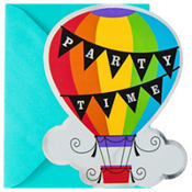 Metallic Rainbow Hot Air Balloon Invitations 8ct