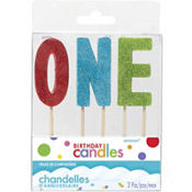 Glitter Multicolor One Birthday Toothpick Candles 3ct