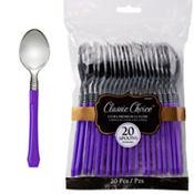 Classic Silver & Purple Premium Plastic Spoons 20ct