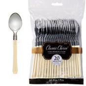 Classic Silver & Vanilla Premium Plastic Spoons 20ct