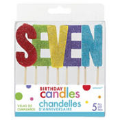 Glitter Multicolor Seven Birthday Toothpick Candles 5ct