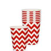 Red Chevron Paper Cups 8ct