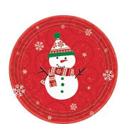 Very Merry Snowman Dessert Plates 12ct