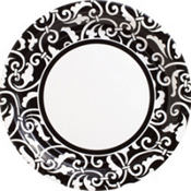 Black Ornamental Scroll Party Supplies