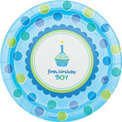 Sweet Cupcake Boy's 1st Birthday Party Supplies