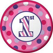 Pink Dots & Stripes 1st Birthday Party Supplies