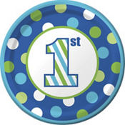 Blue Dots & Stripes 1st Birthday Party Supplies