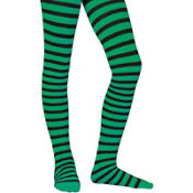 Child Green and Black Striped Tights