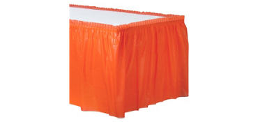 Orange Plastic Table Skirt