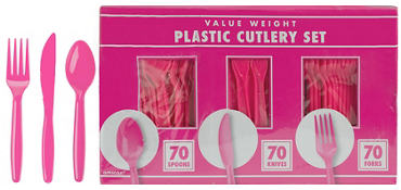 Bright Pink Plastic Cutlery Set 210ct