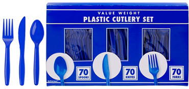 Royal Blue Plastic Cutlery Set 210ct
