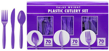 Purple Plastic Cutlery Set 210ct