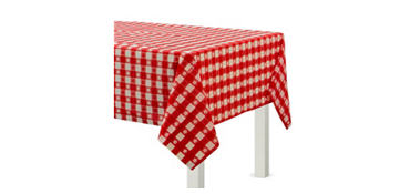 Red Gingham Plastic Table Cover