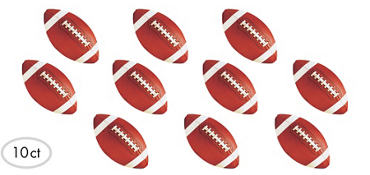 Football Cutouts Assorted 3 3/4in 10ct