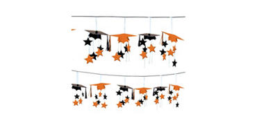 Orange 3D Grad Cap Graduation Garland 12ft