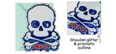 Premium Prismatic Skull & Crossbones Invitations 8ct